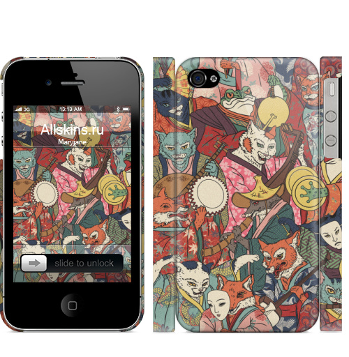 Чехол матовый для iPhone 4,4S Ночной парад,  купить в Москве – интернет-магазин Allskins, музыка, кошка, лиса, кицунэ, оборотни, духи, демоны, Япония, миф
