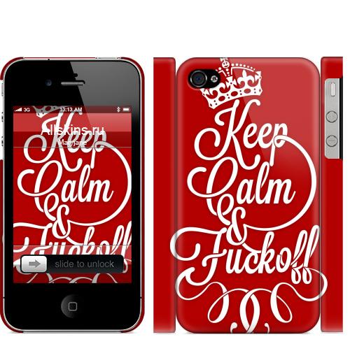 Чехол матовый для iPhone 4,4S Keep Calm & Fuck off,  купить в Москве – интернет-магазин Allskins, keep_calm, корона, Англия, надписи, типографика, прикольные надписи, english