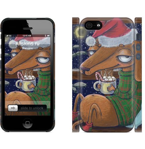 Чехол матовый для iPhone 5, 5S, 5SE Уютный новогодний пес,  купить в Москве – интернет-магазин Allskins, нгднгд, новый_год, пёсик, собаки, такса, какао, окно, зима, уют, уютно
