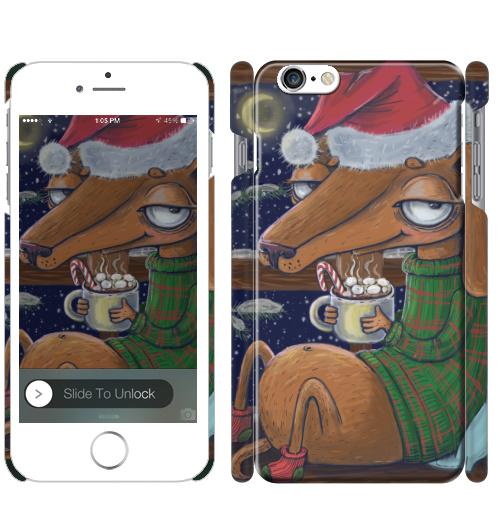 Чехол матовый для iPhone 6, 6S Уютный новогодний пес,  купить в Москве – интернет-магазин Allskins, нгднгд, новый_год, пёсик, собаки, такса, какао, окно, зима, уют, уютно