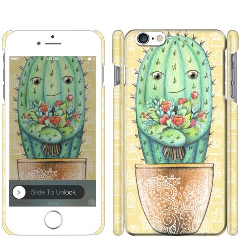 Чехол матовый для iPhone 7 Кактус с цветами,  купить в Москве – интернет-магазин Allskins, цветы, колючий, растение, зеленый, веселый, персонажи, конверт, посткроссинг