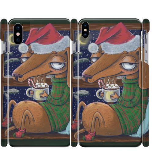 Чехол матовый для iPhone X Уютный новогодний пес,  купить в Москве – интернет-магазин Allskins, нгднгд, новый год, пёсик, собаки, такса, какао, окно, зима, уют, уютно