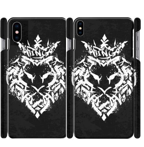 Чехол глянцевые для iPhone X Граффити лев,  купить в Москве – интернет-магазин Allskins, типографика, король, лев, граффити, корона, черно-белое