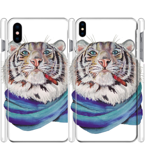 Чехол матовый для iPhone X Харизма,  купить в Москве – интернет-магазин Allskins, белый, тигры, акварель, хардкор, характер