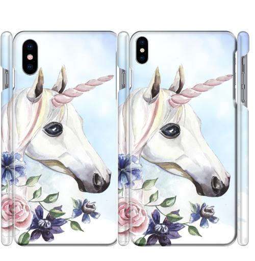 Чехол глянцевые для iPhone X Единорог в цветах,  купить в Москве – интернет-магазин Allskins, единорог, цветы, акварель, васильки, василек, розовый, голубой, пастельный, лошадь