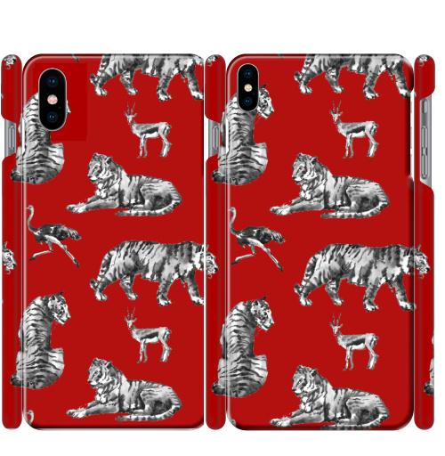 Чехол глянцевые для iPhone X Тигры на красном,  купить в Москве – интернет-магазин Allskins, зверушки, африка, Саванна, антилопа, дикая, природа, фауна, хищник, добыча