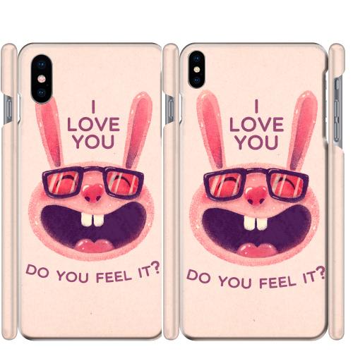 Чехол глянцевые для iPhone X Влюбленный зая,  купить в Москве – интернет-магазин Allskins, заяц, животные, любовь, улыбка, сердце, хипстер, для влюбленных