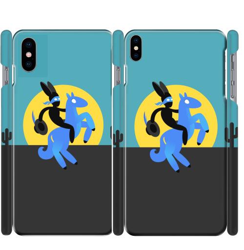 Чехол глянцевые для iPhone X Синийконь,  купить в Москве – интернет-магазин Allskins, черный, зорро, синий, лошадь, заяц