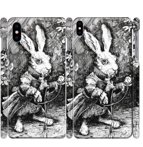 Чехол глянцевые для iPhone X Заяц из алисы в стране чудес,  купить в Москве – интернет-магазин Allskins, иллюстация, заяц, животные, Подарок, графика