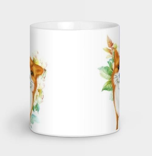 Лисёнок и розы, albino, Магазин футболок albino, Кружка