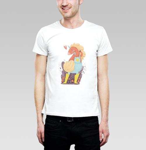 Футболка мужская  SLIM белая - Единорог в желтых сапожках