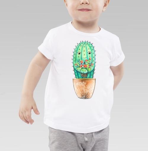 Детская футболка белая 160гр - Кактус с цветами