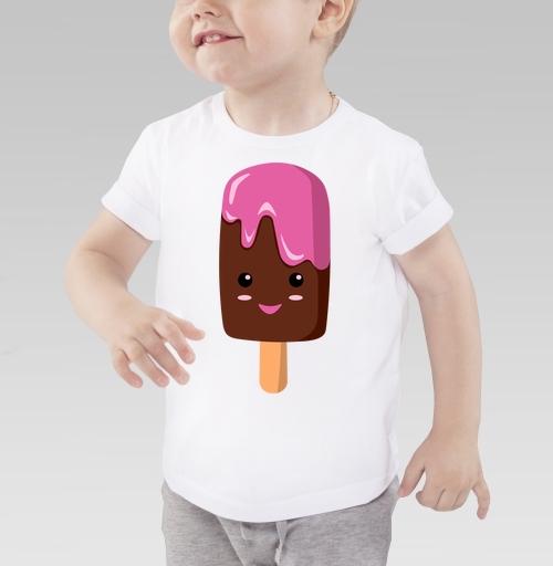 Мороженное няшка по имени Пинки, oliagreen, Детская футболка белая 160гр