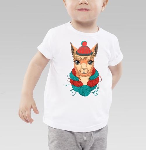 Портрет ламы в шапке и мотком ниток на шее, SkaskaI, Детская футболка белая 160гр