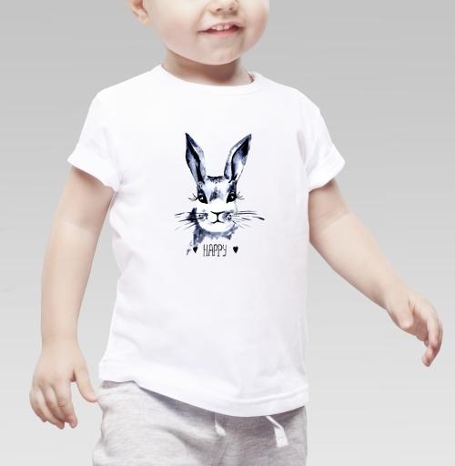 Серый зайка, mama_mika, мои картинки, Детская футболка белая 160гр