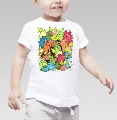 Монстрики с цветочками в горшочках, Haosame, Детская футболка белая 160гр