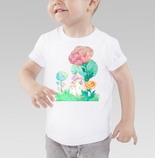 Грибочные домики, OblakovaMirra, Детская футболка белая 160гр