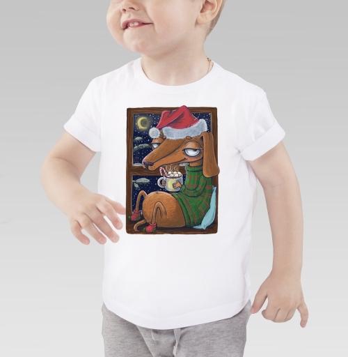 Детская футболка белая 160гр - Уютный новогодний пес