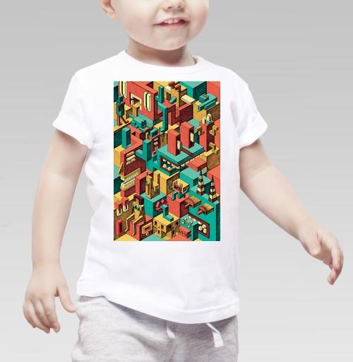 Детская футболка белая 160гр - Геометрическая Вакханалия