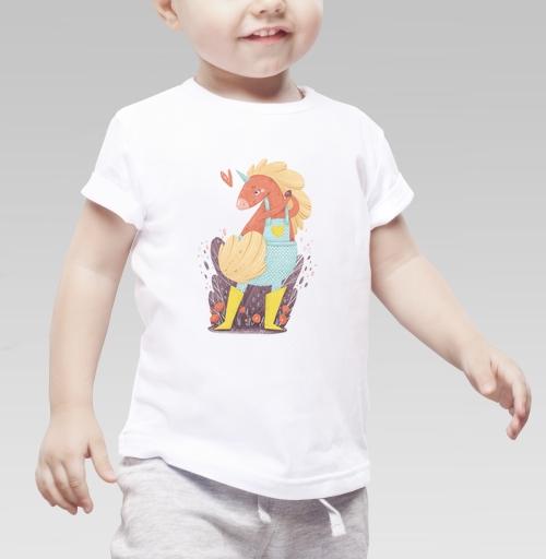 Детская футболка белая 160гр - Единорог в желтых сапожках