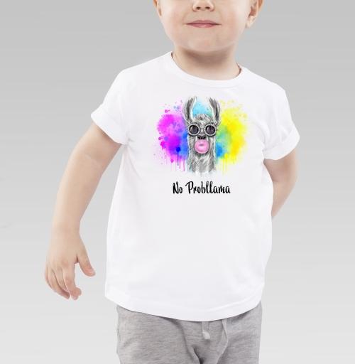 Детская футболка белая 160гр - Лама в очках жующая жевательную резинку