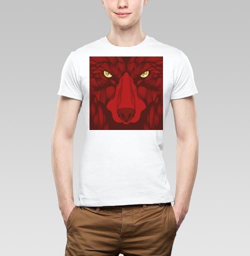 Квадратный волк, kazzzak, SIberija! Одежда сибирских улиц, Футболка мужская белая 160гр