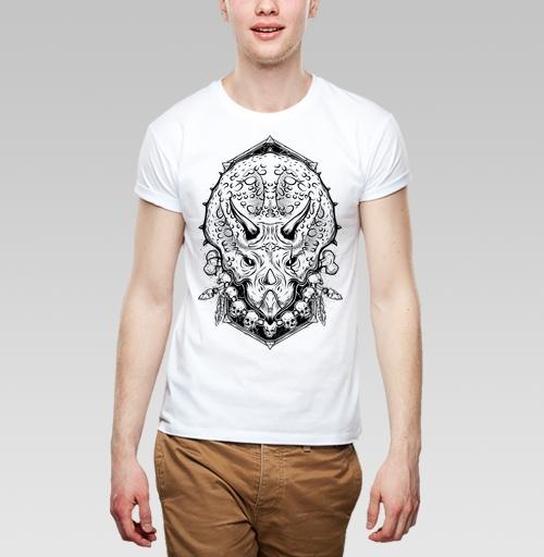 Футболка мужская белая 180гр - Трицератопс