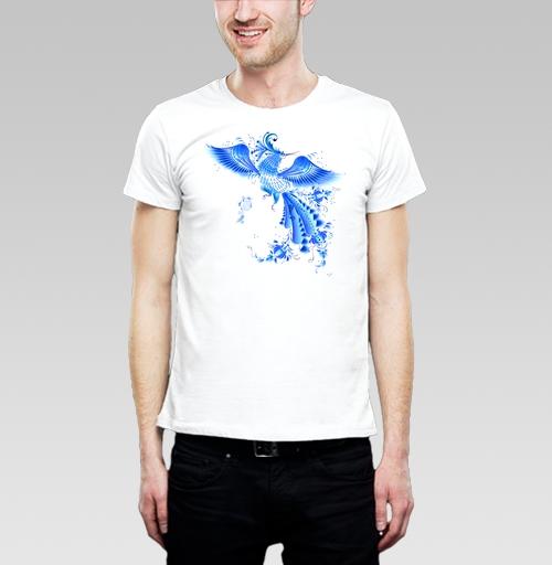 Фотография футболки  Синяя птица удачи в стиле гжельской росписи