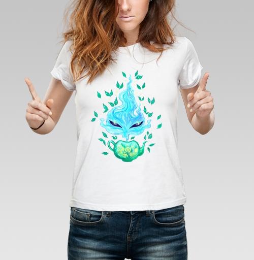 Мятный чай, KataMk, Магазин футболок  ^..^  Катейка, Футболка женская белая 160гр