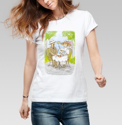 Отпуск без селфи — деньги на ветер, azazEllo4ka, Иллюстрации от azazEllo4ka, Футболка женская белая 160гр