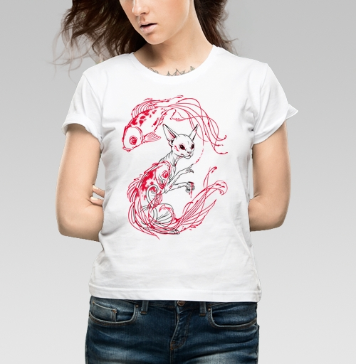 Фотография футболки Кот и рыбки