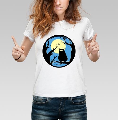 Футболка женская белая 180гр - Owl