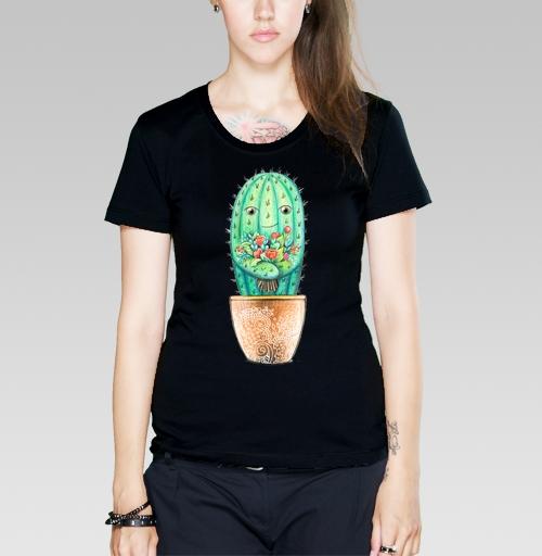Футболка женская чёрная - Кактус с цветами