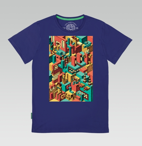 Футболка мужская синий 180гр - Геометрическая Вакханалия