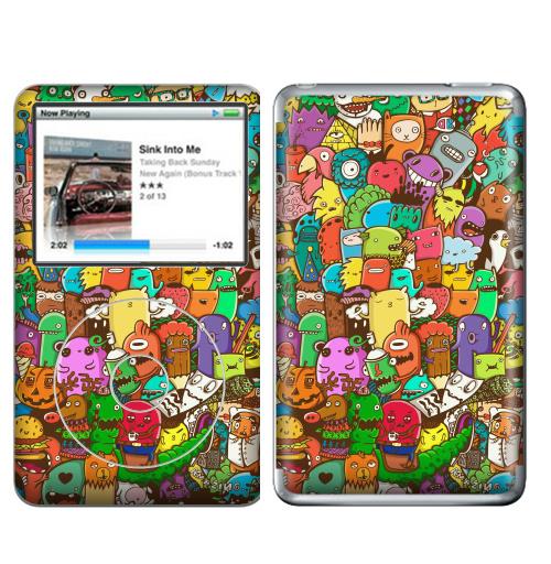 Наклейка на iPod&MP3 Apple iPod Classic Безумный портал полная запечатка,  купить в Москве – интернет-магазин Allskins, полная, запечатка, монстры, дудлы, цвет, радуга, яркий
