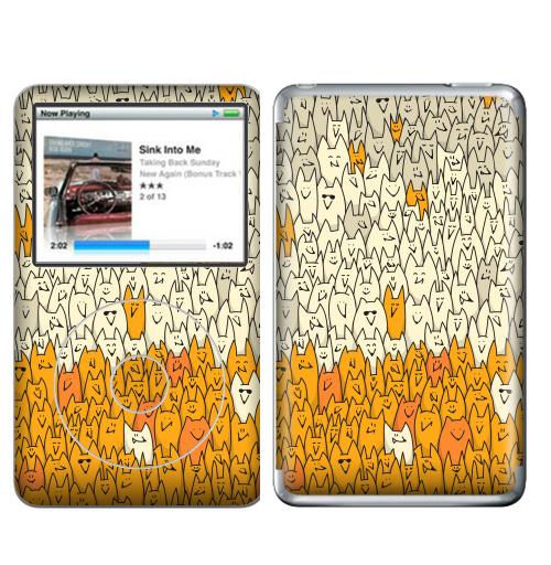 Наклейка на iPod&MP3 Apple iPod Classic Лисья семейка,  купить в Москве – интернет-магазин Allskins, милые животные, зверушки, природа, животные, дудлы, паттерн, лиса