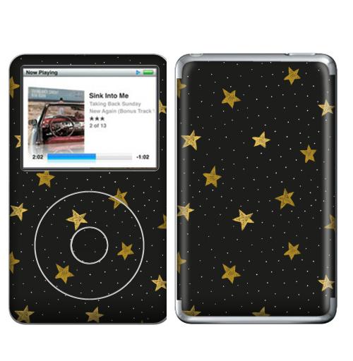 Наклейка на iPod&MP3 Apple iPod Classic Звездная пыль,  купить в Москве – интернет-магазин Allskins, полностьючерный, ЗОЛОТОЙ, астрология, небо, точки, паттерн, звезда