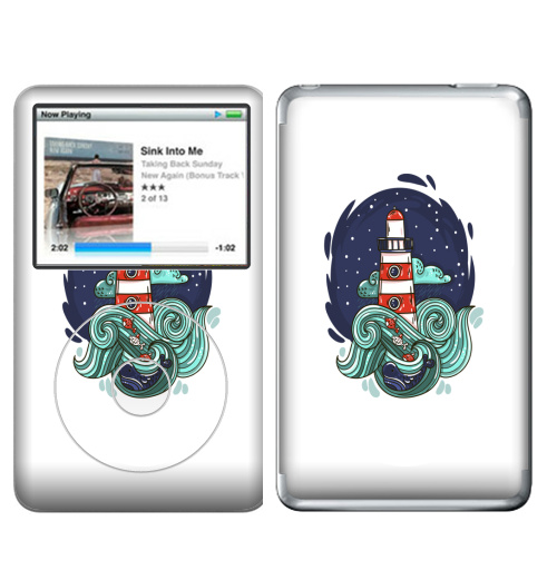 Наклейка на iPod&MP3 Apple iPod Classic Маяк и большая медведица,  купить в Москве – интернет-магазин Allskins, морская, маяк, космос, звезда, облако, небо, волны, рыба