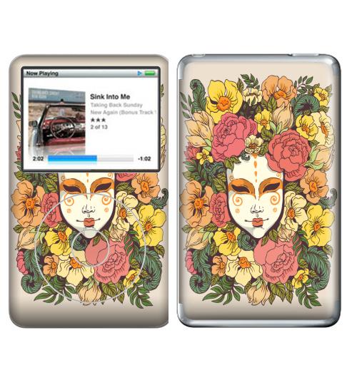 Наклейка на iPod&MP3 Apple iPod Classic Цветочная маска,  купить в Москве – интернет-магазин Allskins, весна, лицо, цветы, маска, узор, декоративный, растение, букет, желтый