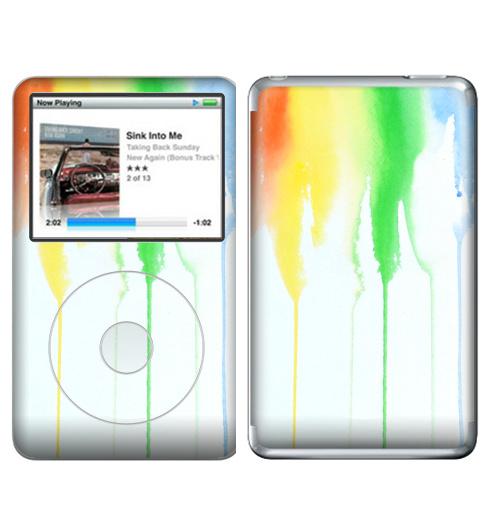 Наклейка на iPod&MP3 Apple iPod Classic Радуга,  купить в Москве – интернет-магазин Allskins, спектр, акварель, радуга