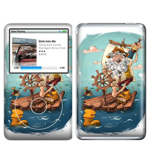 Наклейка на iPod&MP3 Apple iPod Classic Главное - плыть вперед!,  купить в Москве – интернет-магазин Allskins, пират, морская, плот, оптимизм, персонажи, борода