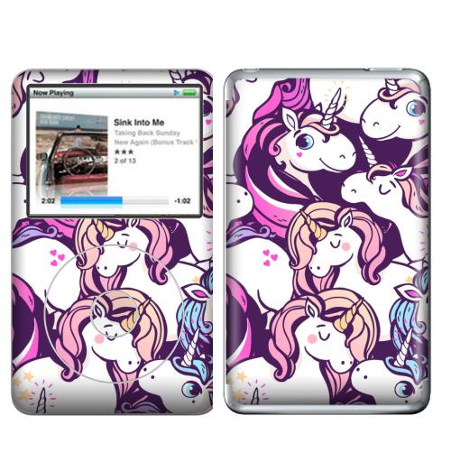 Наклейка на iPod&MP3 Apple iPod Classic Единорогов много не бывает,  купить в Москве – интернет-магазин Allskins, мило, голубой, фиолетовый, розовый, лошадь, сказки, магия, единорог