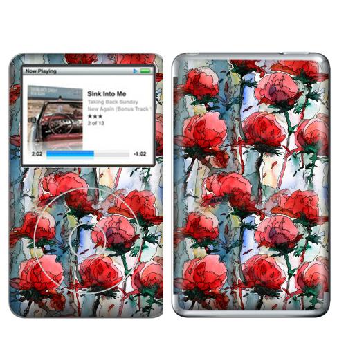 Наклейка на iPod&MP3 Apple iPod Classic Розы,  купить в Москве – интернет-магазин Allskins, графика, иллюстрации, композиция, цветы, фантазия, счастье