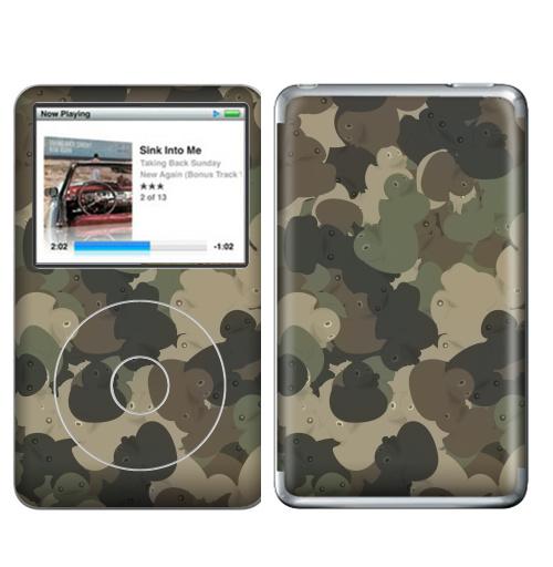 Наклейка на iPod&MP3 Apple iPod Classic Камуфляж с резиновыми уточками,  купить в Москве – интернет-магазин Allskins, хаки, текстура, военные, паттерн, утка, утенок, игрушки, ванная