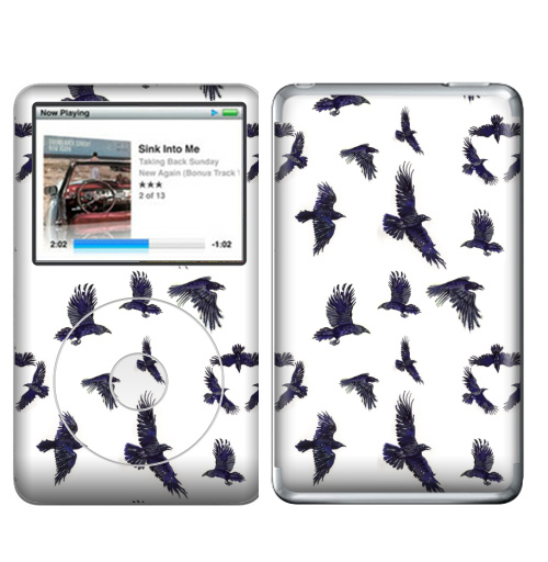 Наклейка на iPod&MP3 Apple iPod Classic Стая воронов,  купить в Москве – интернет-магазин Allskins, ворона, птицы, Крылья, готика, бесшовный, акварель