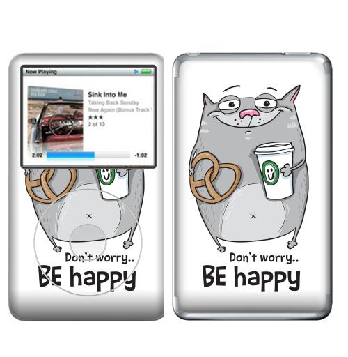 Наклейка на iPod&MP3 Apple iPod Classic Будь счастлив с серым котом,  купить в Москве – интернет-магазин Allskins, будь, счастлив