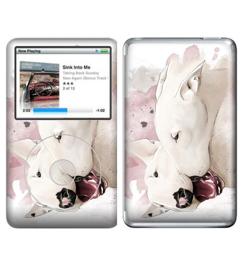 Наклейка на iPod&MP3 Apple iPod Classic Влюбленные бультерьеры,  купить в Москве – интернет-магазин Allskins, крутые животные, собаки, бультерьер, любовь, сердце, акварель, нежно, поцелуй, животные, милые животные