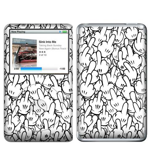 Наклейка на iPod&MP3 Apple iPod Classic Пальцы,  купить в Москве – интернет-магазин Allskins, перчатки, руки, жест, паттерн, белый, грубость, палец, фак, мультфильмы, мат