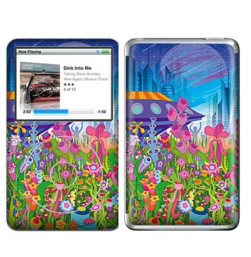 Наклейка на iPod&MP3 Apple iPod Classic Тайна пятой планеты,  купить в Москве – интернет-магазин Allskins, психоделика, будущее, футуризм, цветы, космос, инопланетяне, небо, звезда, музыка