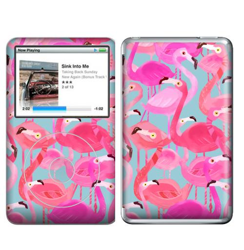 Наклейка на iPod&MP3 Apple iPod Classic Фламинго Серый фон,  купить в Москве – интернет-магазин Allskins, мило, птицы, фламинго, розовый, фуксия, сердце, тропики, лето, текстура, фауна